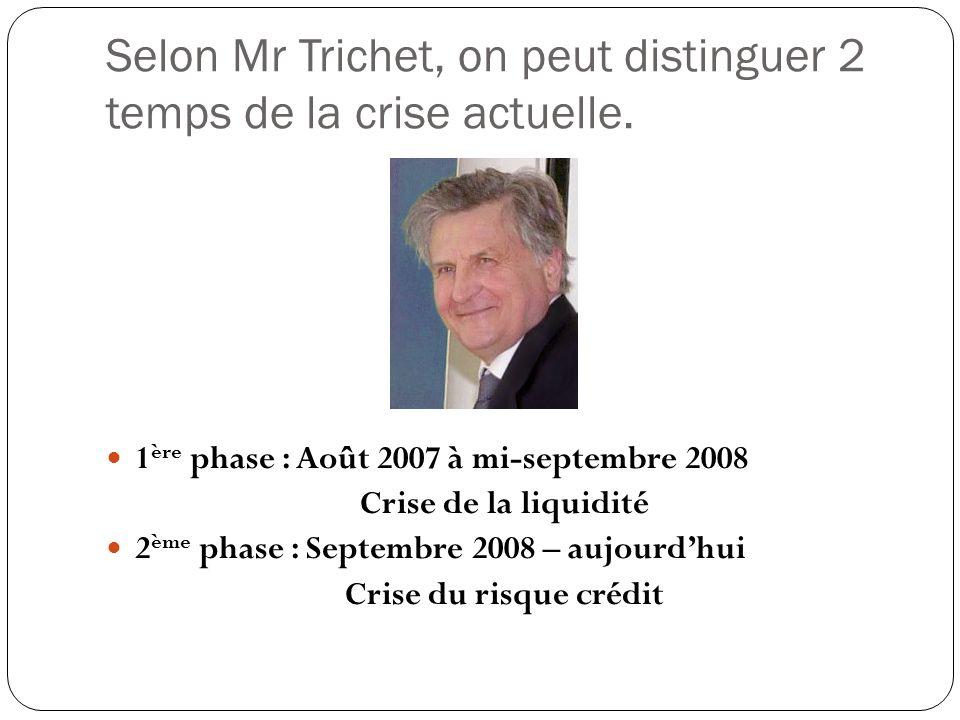 Selon Mr Trichet, on peut distinguer 2 temps de la crise actuelle. 1 ère phase : Août 2007 à mi-septembre 2008 Crise de la liquidité 2 ème phase : Sep