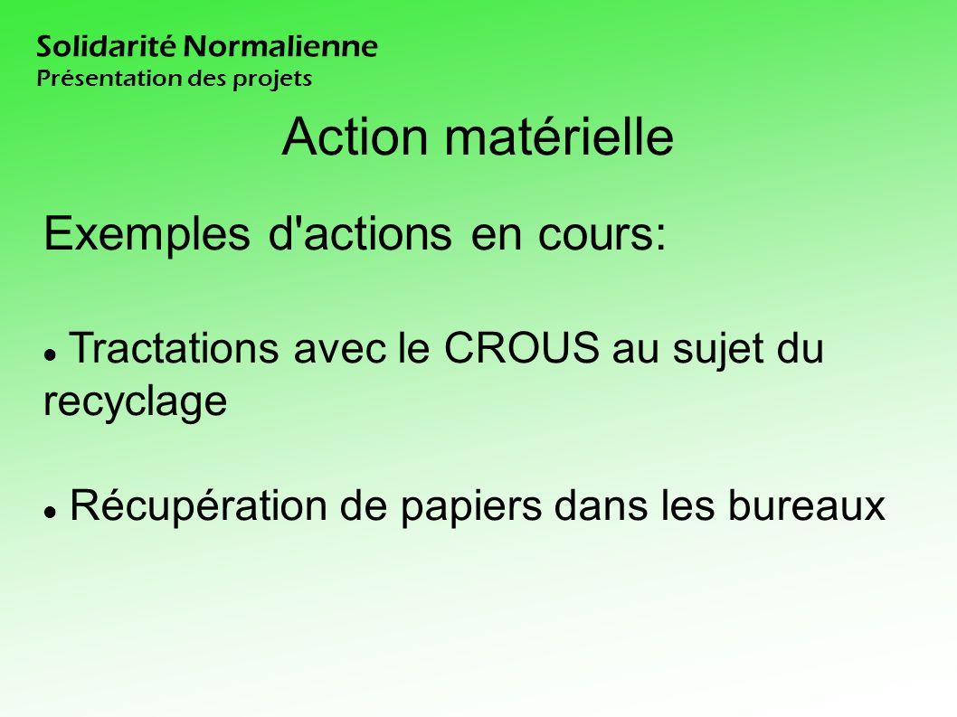 Solidarité Normalienne Présentation des projets Action matérielle Exemples d actions en cours: Tractations avec le CROUS au sujet du recyclage Récupération de papiers dans les bureaux