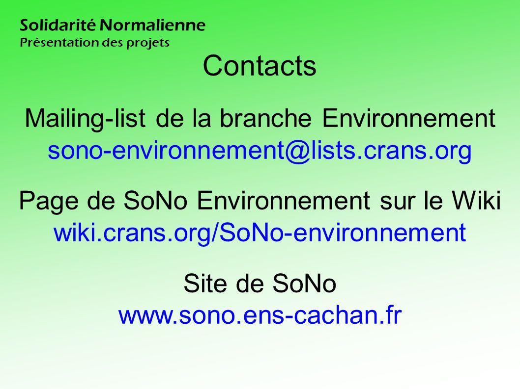 Contacts Mailing-list de la branche Environnement sono-environnement@lists.crans.org Page de SoNo Environnement sur le Wiki wiki.crans.org/SoNo-environnement Site de SoNo www.sono.ens-cachan.fr Solidarité Normalienne Présentation des projets
