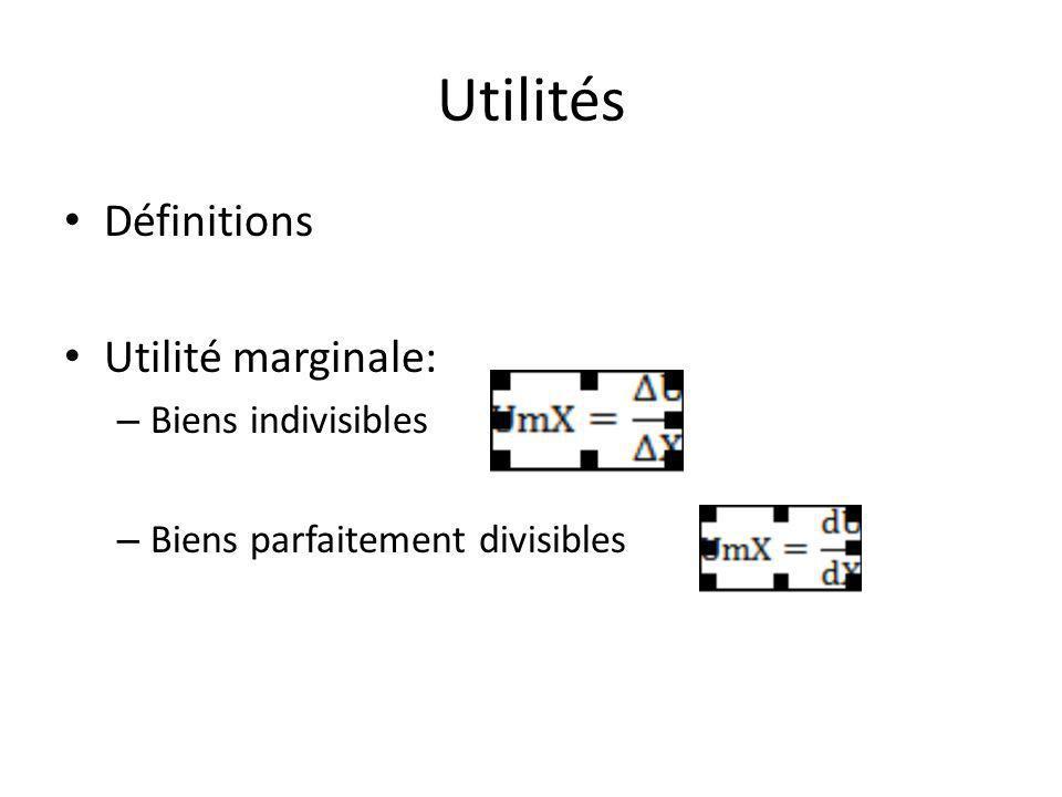 Utilités Définitions Utilité marginale: – Biens indivisibles – Biens parfaitement divisibles