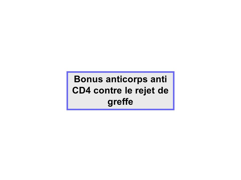 Bonus anticorps anti CD4 contre le rejet de greffe