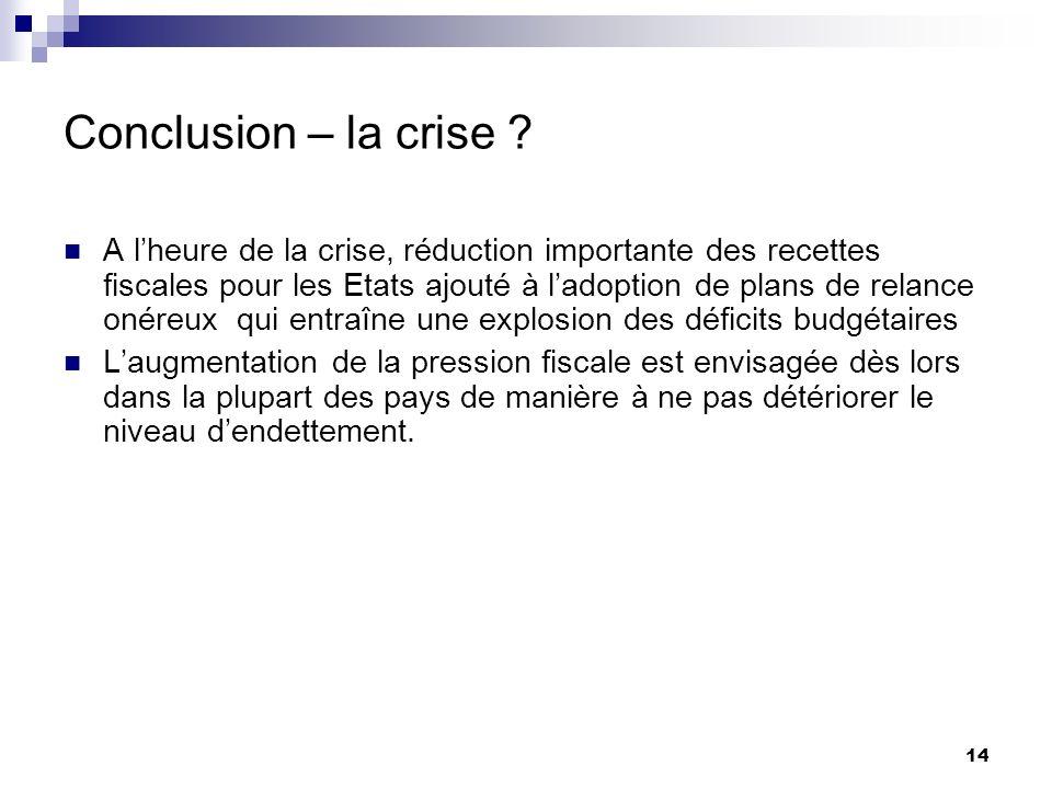 14 Conclusion – la crise ? A lheure de la crise, réduction importante des recettes fiscales pour les Etats ajouté à ladoption de plans de relance onér