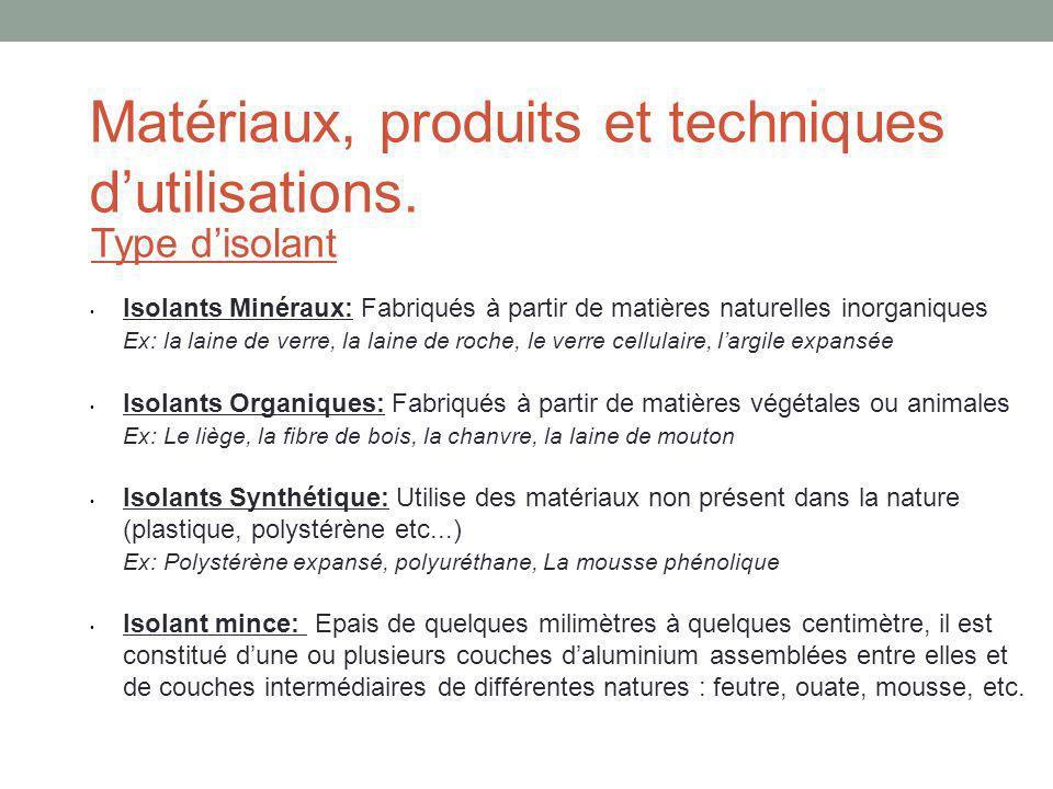 Matériaux, produits et techniques dutilisations. Type disolant Isolants Minéraux: Fabriqués à partir de matières naturelles inorganiques Ex: la laine