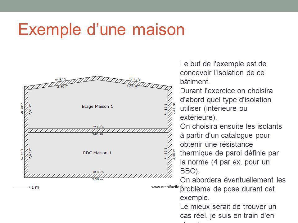 Exemple dune maison Le but de l'exemple est de concevoir l'isolation de ce bâtiment. Durant l'exercice on choisira d'abord quel type d'isolation utili