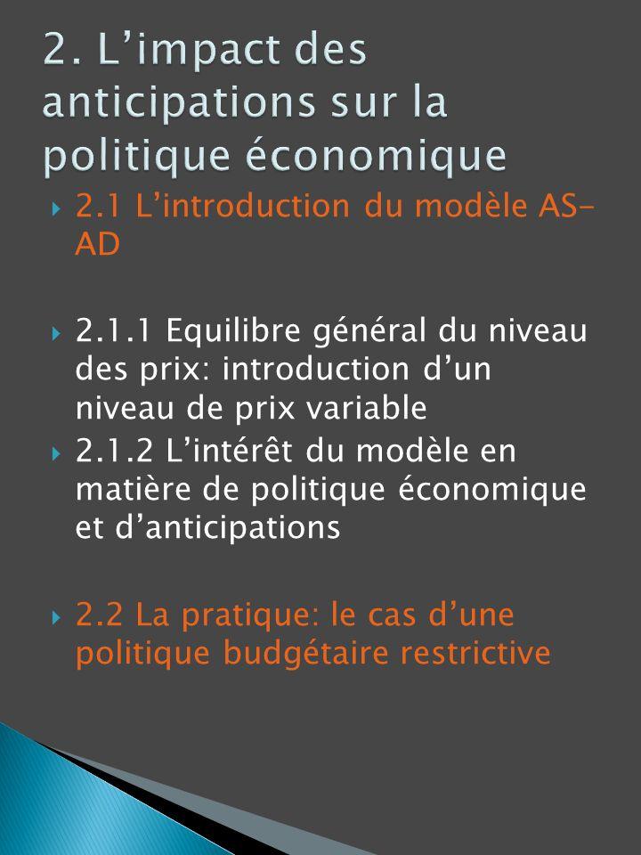 2.1 Lintroduction du modèle AS- AD 2.1.1 Equilibre général du niveau des prix: introduction dun niveau de prix variable 2.1.2 Lintérêt du modèle en ma