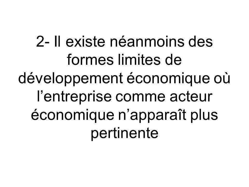2- Il existe néanmoins des formes limites de développement économique où lentreprise comme acteur économique napparaît plus pertinente