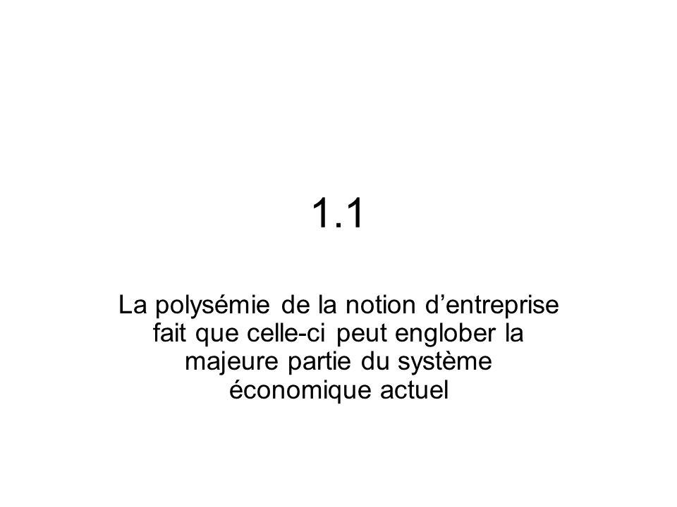 1.1 La polysémie de la notion dentreprise fait que celle-ci peut englober la majeure partie du système économique actuel