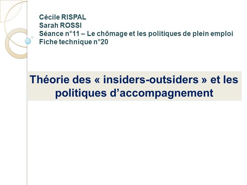 Cécile RISPAL Sarah ROSSI Séance n°11 – Le chômage et les politiques de plein emploi Fiche technique n°20 Théorie des « insiders-outsiders » et les po