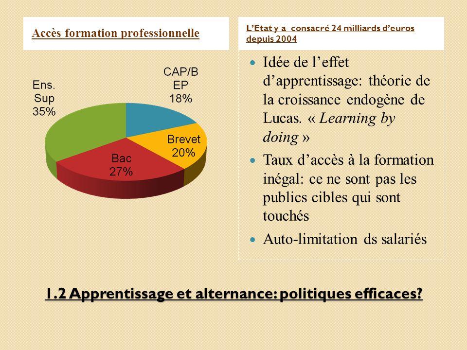 1.2 Apprentissage et alternance: politiques efficaces? Accès formation professionnelle LEtat y a consacré 24 milliards deuros depuis 2004 Idée de leff