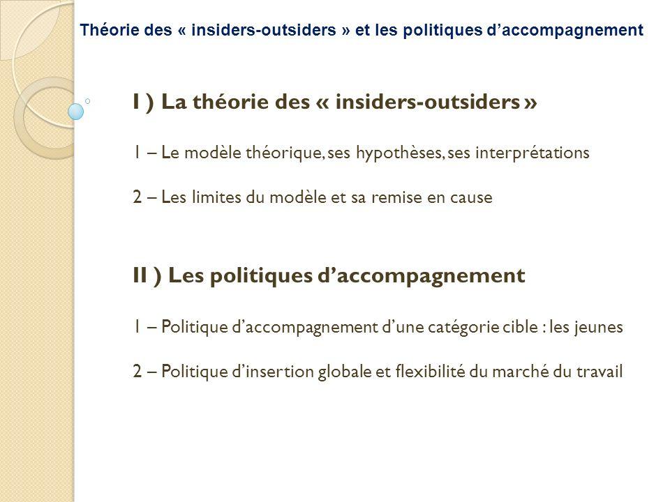 I ) La théorie des « insiders-outsiders » 1 – Le modèle théorique, ses hypothèses, ses interprétations 2 – Les limites du modèle et sa remise en cause