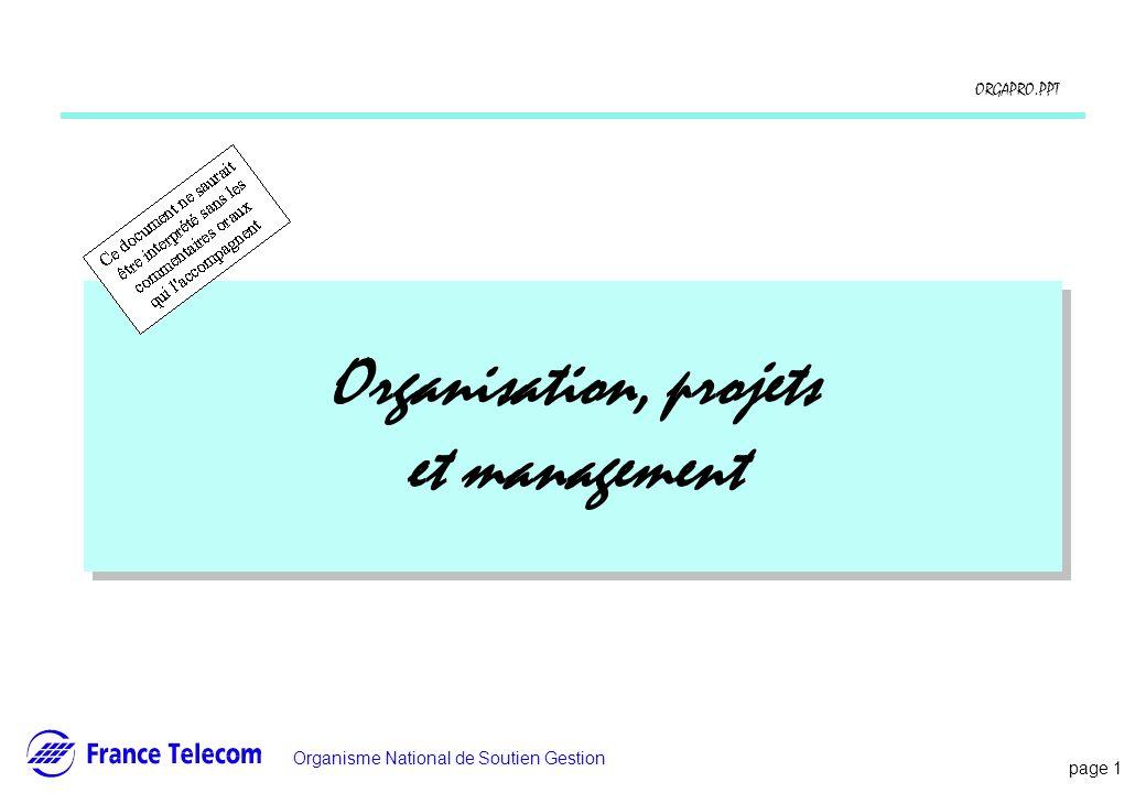 page 1 Information interne Organisme National de Soutien Gestion ORGAPRO.PPT Organisation, projets et management