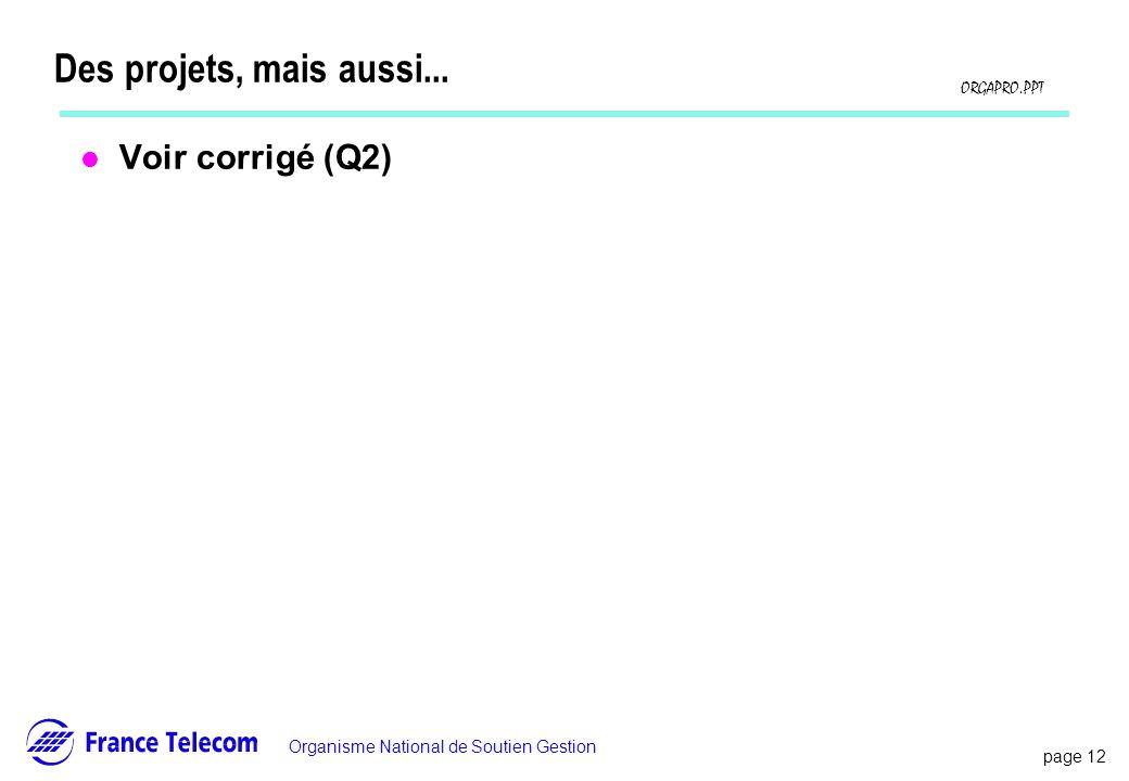 page 12 Information interne Organisme National de Soutien Gestion ORGAPRO.PPT Des projets, mais aussi... l Voir corrigé (Q2)