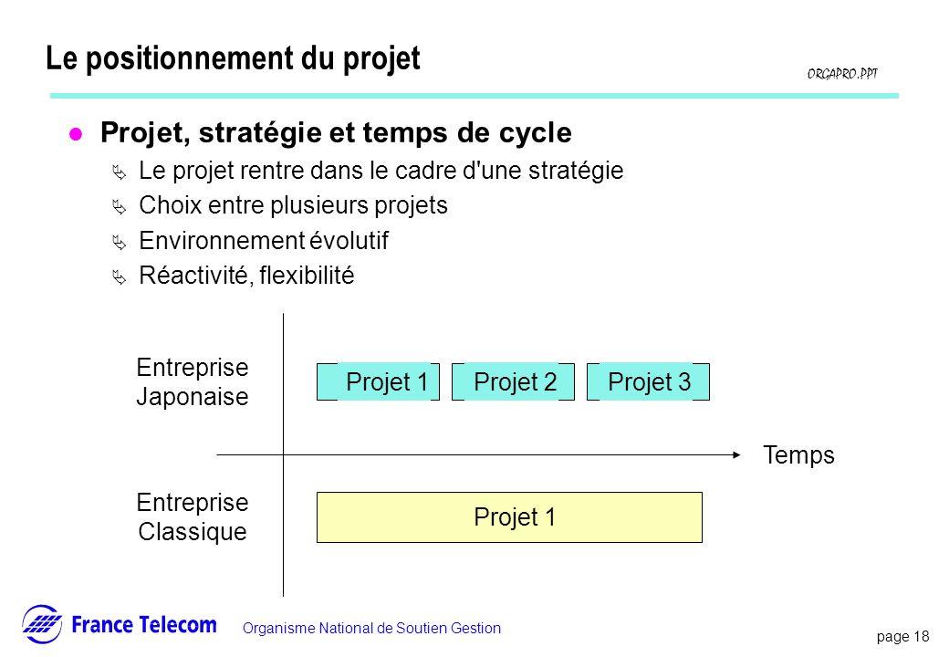 page 18 Information interne Organisme National de Soutien Gestion ORGAPRO.PPT Le positionnement du projet l Projet, stratégie et temps de cycle Le pro