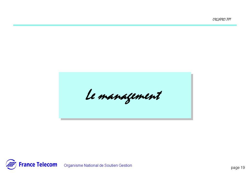 page 19 Information interne Organisme National de Soutien Gestion ORGAPRO.PPT Le management