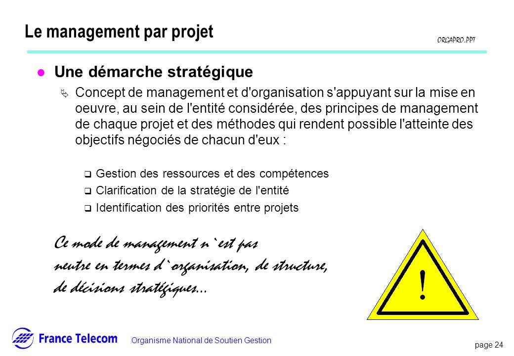page 24 Information interne Organisme National de Soutien Gestion ORGAPRO.PPT Le management par projet l Une démarche stratégique Concept de managemen