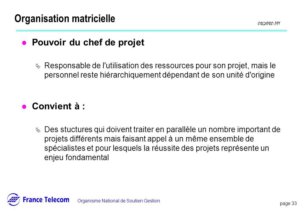 page 33 Information interne Organisme National de Soutien Gestion ORGAPRO.PPT Organisation matricielle l Pouvoir du chef de projet Responsable de l'ut
