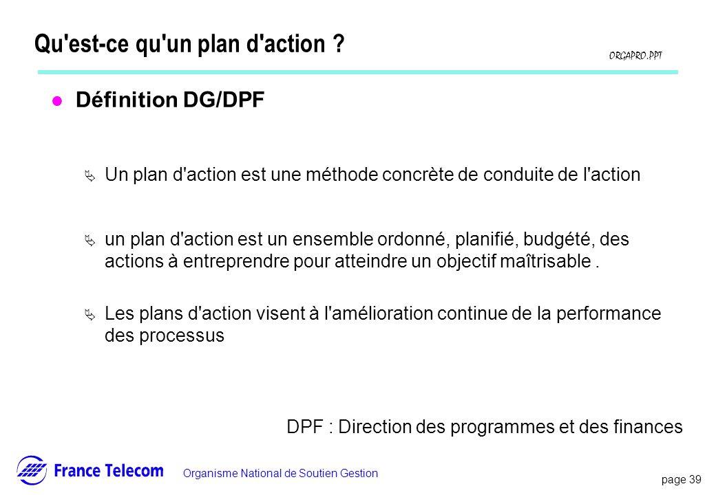 page 39 Information interne Organisme National de Soutien Gestion ORGAPRO.PPT Qu'est-ce qu'un plan d'action ? l Définition DG/DPF Un plan d'action est