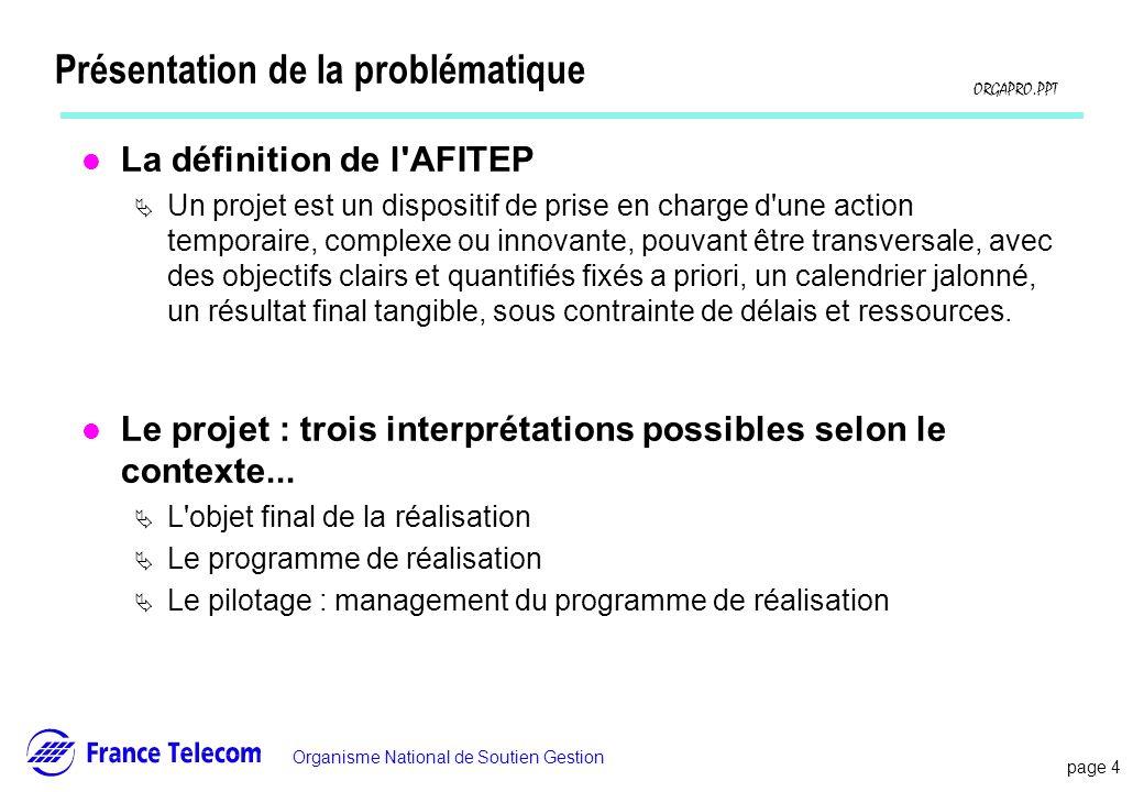 page 4 Information interne Organisme National de Soutien Gestion ORGAPRO.PPT Présentation de la problématique l La définition de l'AFITEP Un projet es