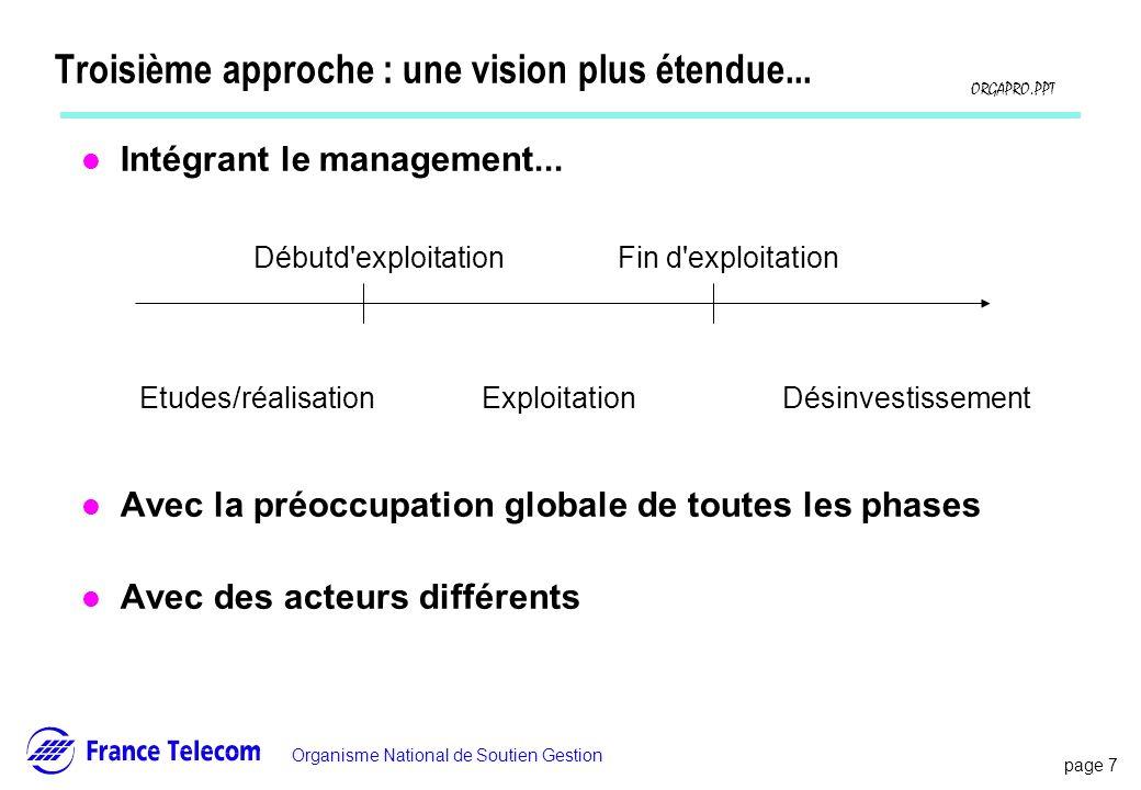 page 7 Information interne Organisme National de Soutien Gestion ORGAPRO.PPT Troisième approche : une vision plus étendue... l Intégrant le management