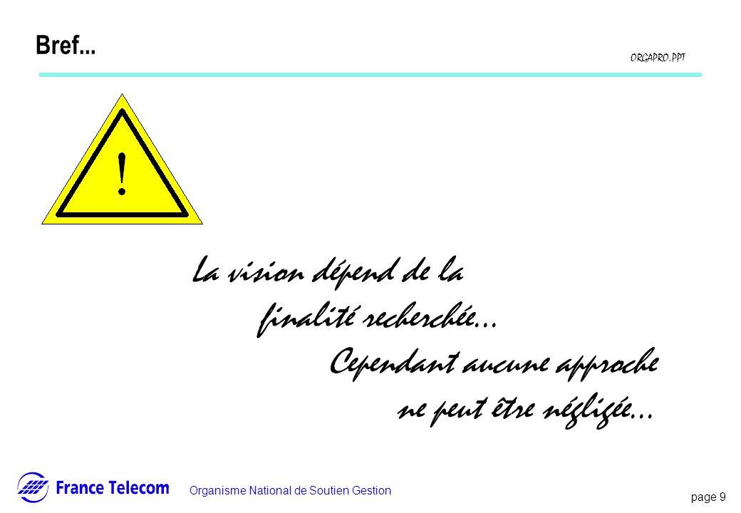 page 9 Information interne Organisme National de Soutien Gestion ORGAPRO.PPT Bref... La vision dépend de la finalité recherchée... Cependant aucune ap