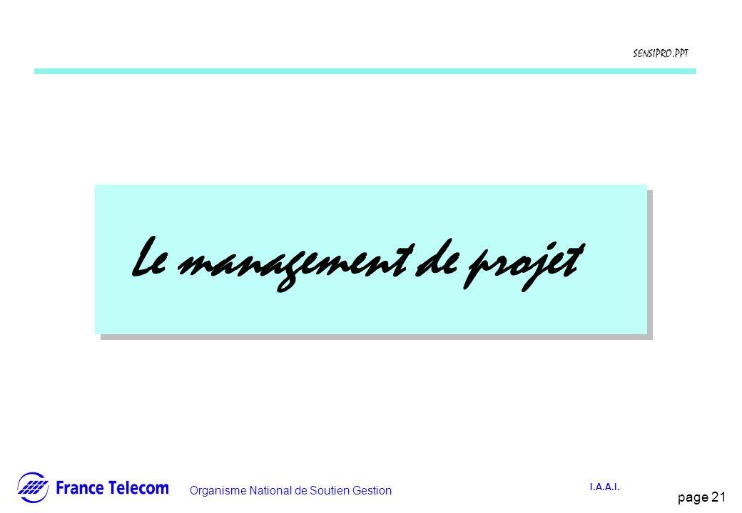 page 21 Information interne Organisme National de Soutien Gestion SENSIPRO.PPT I.A.A.I. Le management de projet