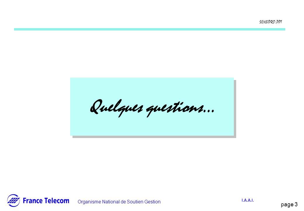 page 3 Information interne Organisme National de Soutien Gestion SENSIPRO.PPT I.A.A.I. Quelques questions...
