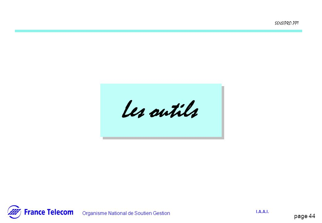 page 44 Information interne Organisme National de Soutien Gestion SENSIPRO.PPT I.A.A.I. Les outils