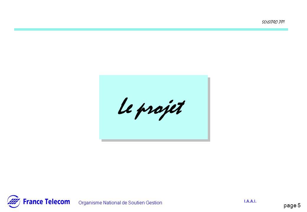 page 5 Information interne Organisme National de Soutien Gestion SENSIPRO.PPT I.A.A.I. Le projet