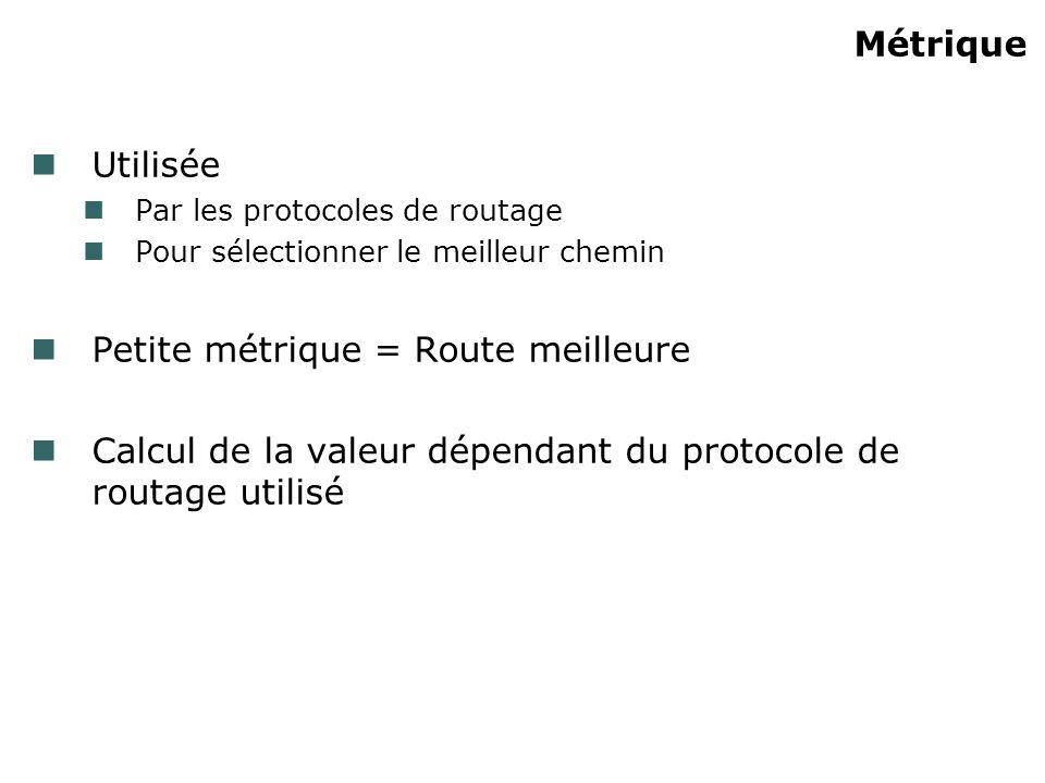 Métrique Utilisée Par les protocoles de routage Pour sélectionner le meilleur chemin Petite métrique = Route meilleure Calcul de la valeur dépendant du protocole de routage utilisé