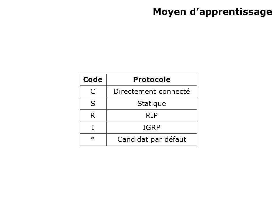 Moyen dapprentissage Candidat par défaut* IGRPI RIPR StatiqueS Directement connectéC ProtocoleCode