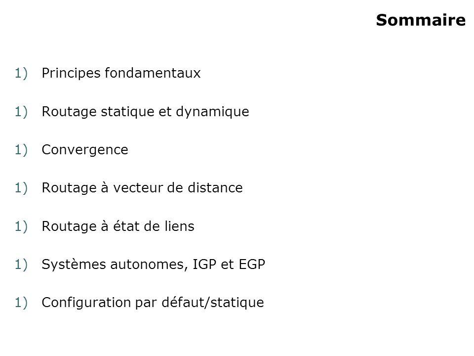Sommaire 1)Principes fondamentaux 1)Routage statique et dynamique 1)Convergence 1)Routage à vecteur de distance 1)Routage à état de liens 1)Systèmes autonomes, IGP et EGP 1)Configuration par défaut/statique
