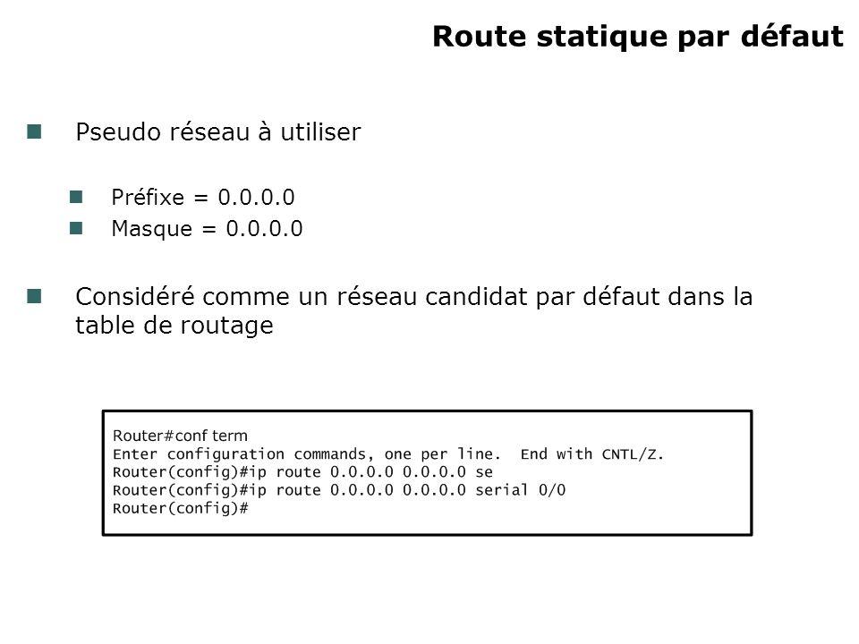 Route statique par défaut Pseudo réseau à utiliser Préfixe = 0.0.0.0 Masque = 0.0.0.0 Considéré comme un réseau candidat par défaut dans la table de routage