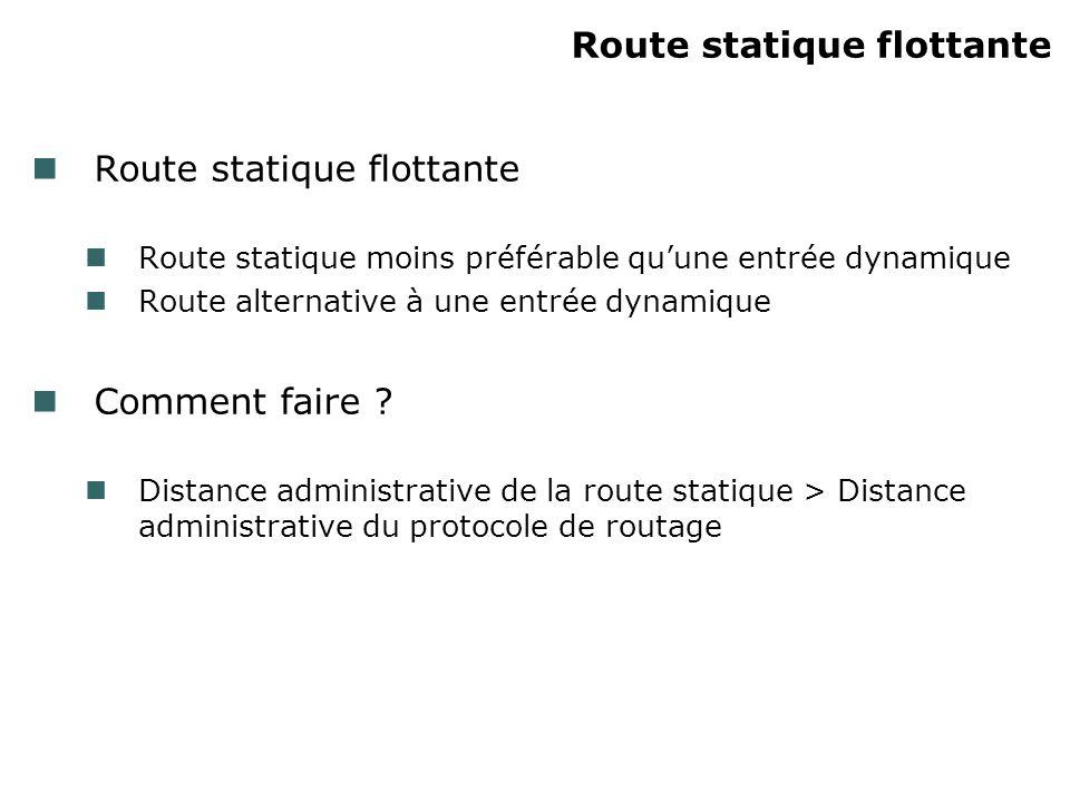 Route statique flottante Route statique moins préférable quune entrée dynamique Route alternative à une entrée dynamique Comment faire .