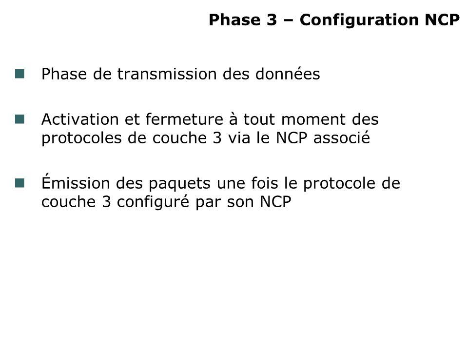Phase 3 – Configuration NCP Phase de transmission des données Activation et fermeture à tout moment des protocoles de couche 3 via le NCP associé Émis