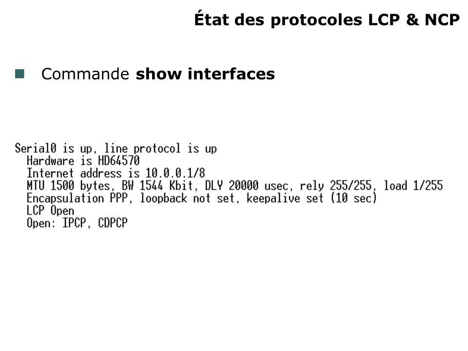 État des protocoles LCP & NCP Commande show interfaces