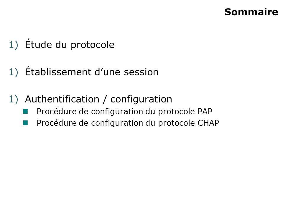 Sommaire 1)Étude du protocole 1)Établissement dune session 1)Authentification / configuration Procédure de configuration du protocole PAP Procédure de