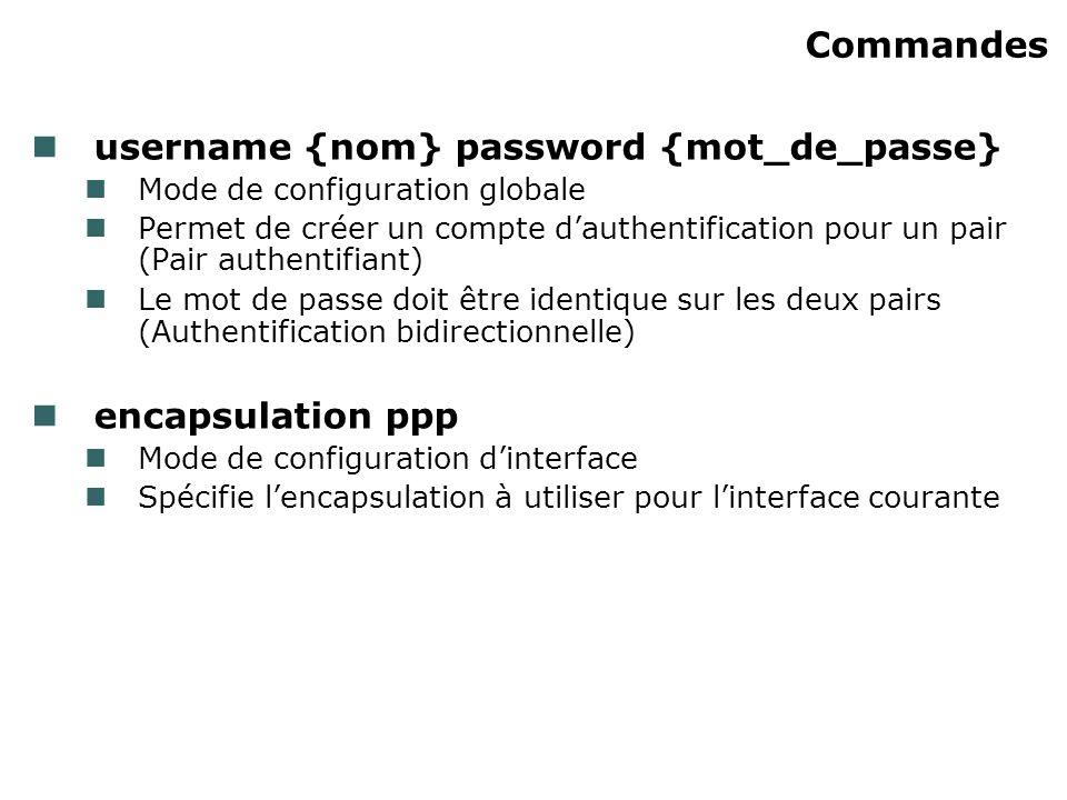 Commandes username {nom} password {mot_de_passe} Mode de configuration globale Permet de créer un compte dauthentification pour un pair (Pair authenti