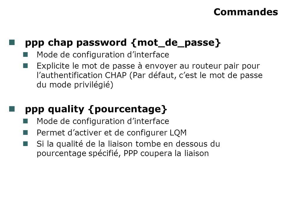 Commandes ppp chap password {mot_de_passe} Mode de configuration dinterface Explicite le mot de passe à envoyer au routeur pair pour lauthentification