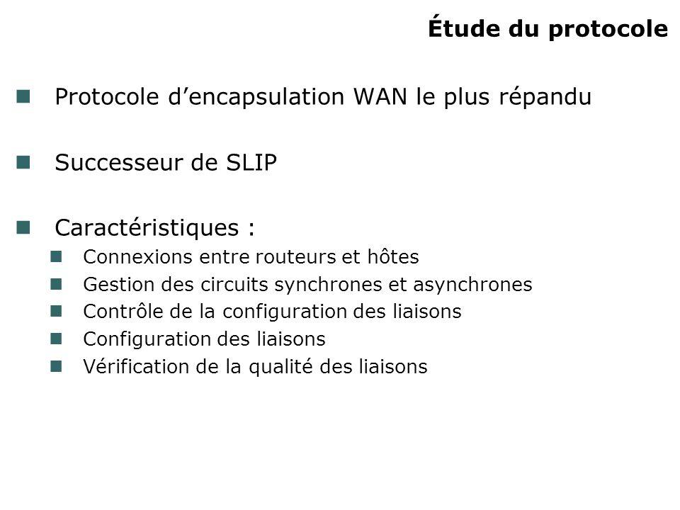 Étude du protocole Protocole dencapsulation WAN le plus répandu Successeur de SLIP Caractéristiques : Connexions entre routeurs et hôtes Gestion des c