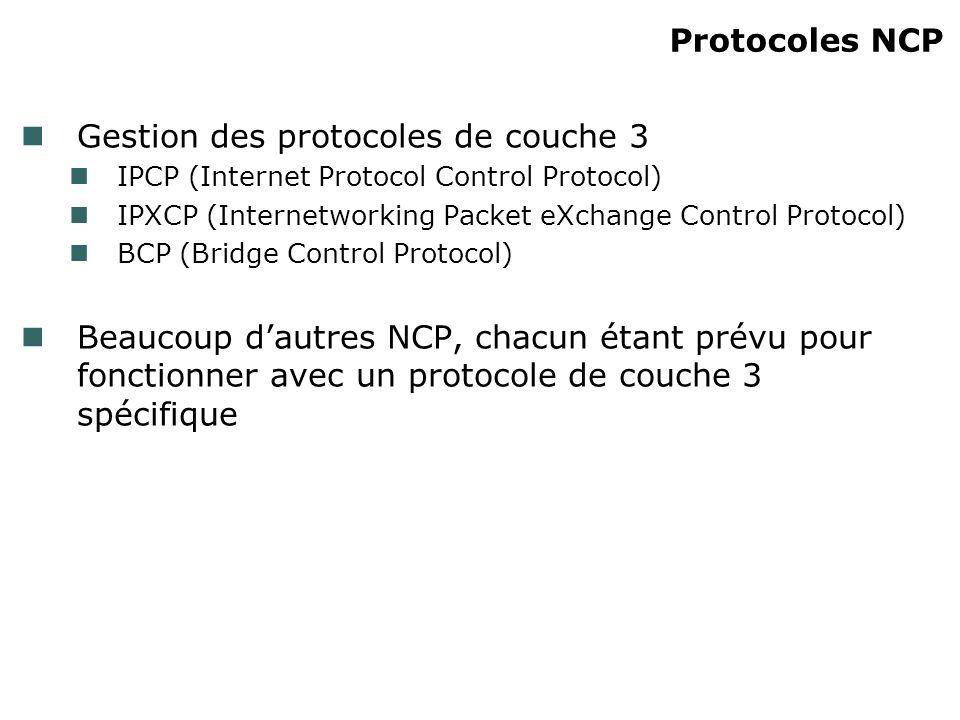 Protocoles NCP Gestion des protocoles de couche 3 IPCP (Internet Protocol Control Protocol) IPXCP (Internetworking Packet eXchange Control Protocol) B