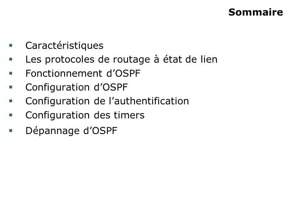Configuration de lauthentification ip ospf message-digest-key {id-clé} md5 {clé} Mode configuration dinterface Cryptage des authentifications en MD5 id-clé : identifiant (1 à 255) clé : jusquà 16 caractères alphanumériques