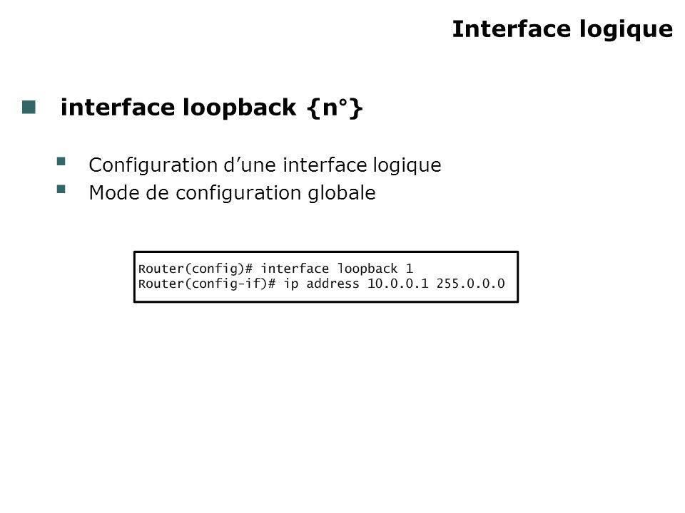Interface logique interface loopback {n°} Configuration dune interface logique Mode de configuration globale
