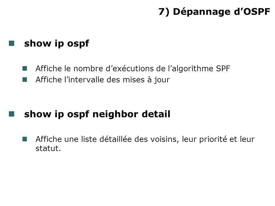 7) Dépannage dOSPF show ip ospf Affiche le nombre dexécutions de lalgorithme SPF Affiche lintervalle des mises à jour show ip ospf neighbor detail Aff