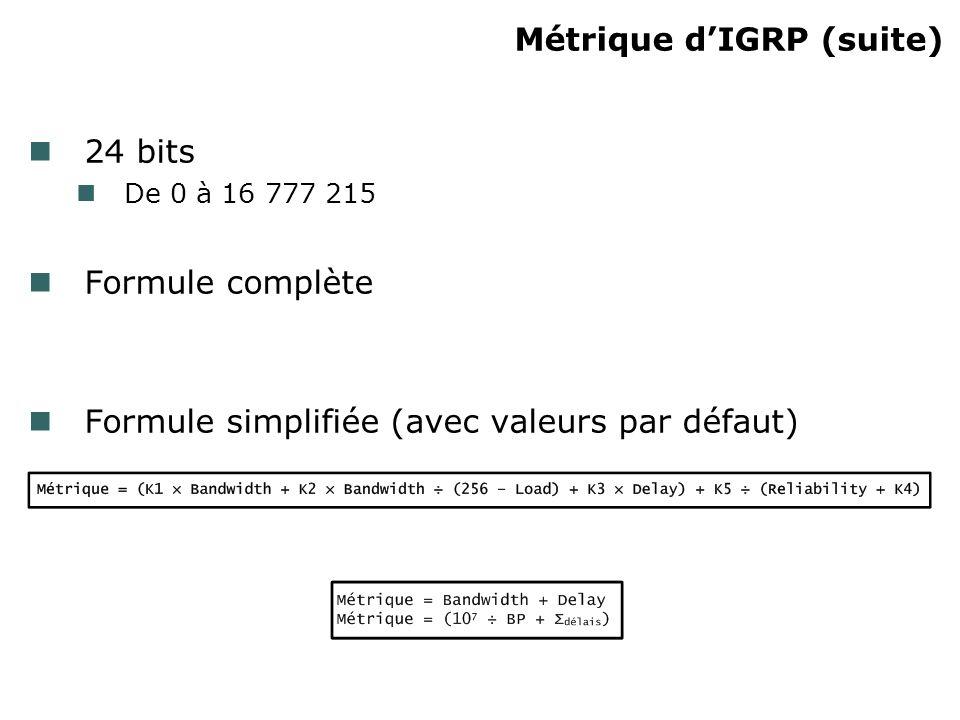 Types de routes IGRP Max 4 routes pour une même destination 3 types de routes Intérieure Route entre des sous-réseaux directement connectés Système Route interne propagée à lintérieur de lAS Extérieure Externe à lAS IGRP (redistribuée)