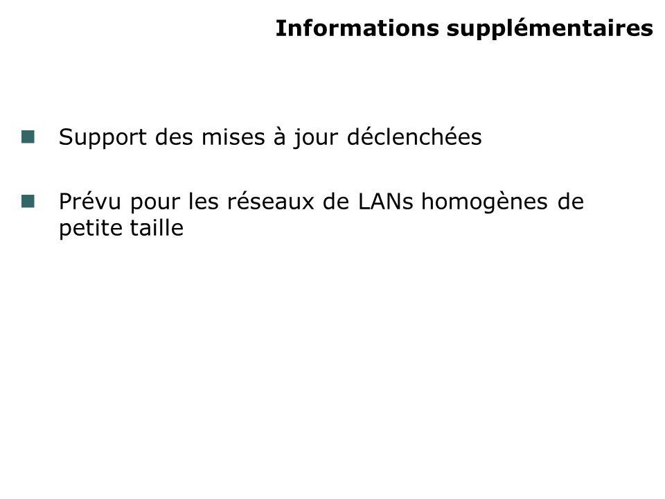 Informations supplémentaires Support des mises à jour déclenchées Prévu pour les réseaux de LANs homogènes de petite taille