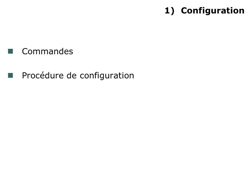 1)Configuration Commandes Procédure de configuration