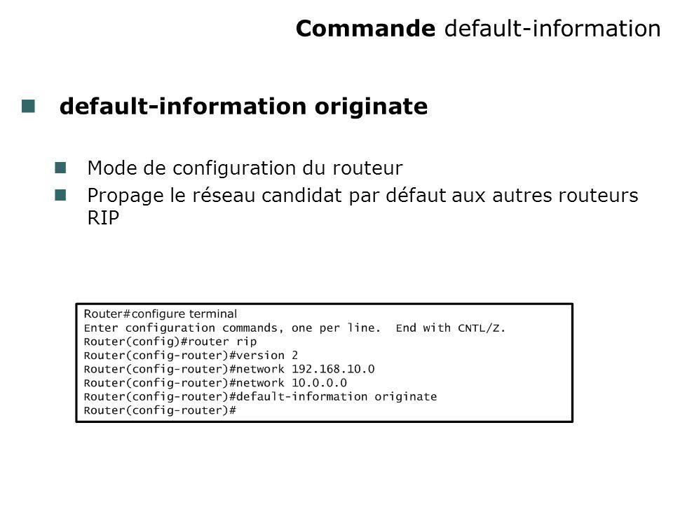 Commande default-information default-information originate Mode de configuration du routeur Propage le réseau candidat par défaut aux autres routeurs RIP