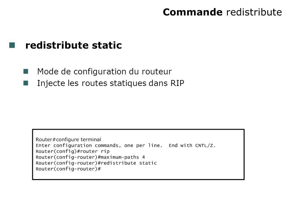 Commande redistribute redistribute static Mode de configuration du routeur Injecte les routes statiques dans RIP