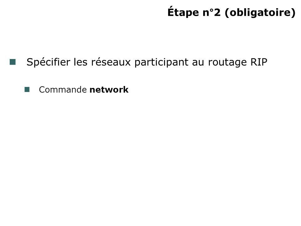 Étape n°2 (obligatoire) Spécifier les réseaux participant au routage RIP Commande network