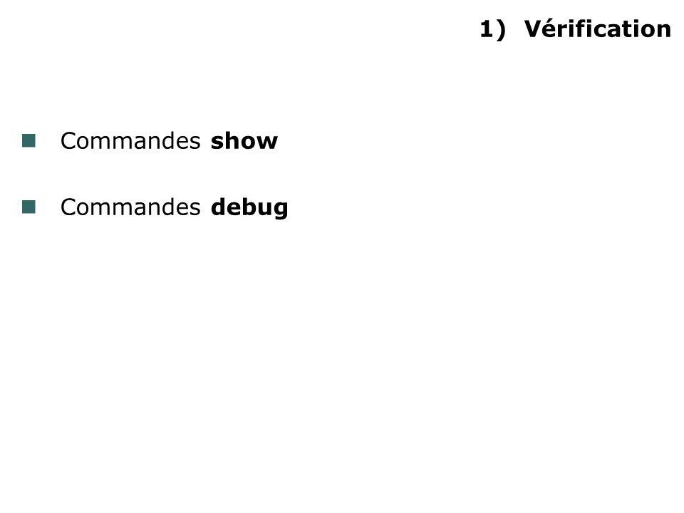 1)Vérification Commandes show Commandes debug